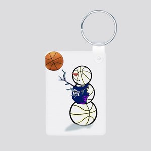 Basketball Snowman Aluminum Photo Keychain