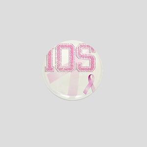 IOS initials, Pink Ribbon, Mini Button