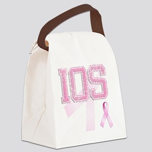 IOS initials, Pink Ribbon, Canvas Lunch Bag