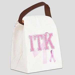 ITK initials, Pink Ribbon, Canvas Lunch Bag
