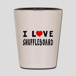 I Love Shuffleboard Shot Glass