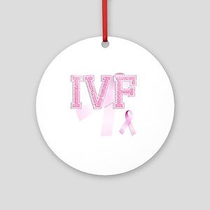 IVF initials, Pink Ribbon, Round Ornament