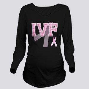 IVF initials, Pink R Long Sleeve Maternity T-Shirt