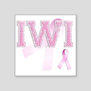 """IWI initials, Pink Ribbon, Square Sticker 3"""" x 3"""""""