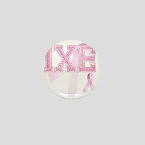IXE initials, Pink Ribbon, Mini Button