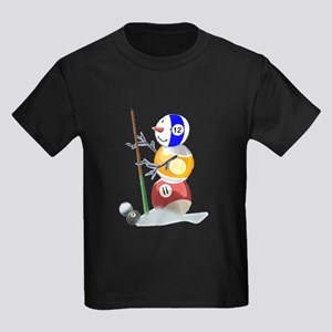 Billiards Ball Snowman Kids Dark T-Shirt