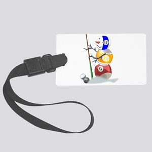 Billiards Ball Snowman Large Luggage Tag