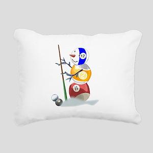 Billiards Ball Snowman Rectangular Canvas Pillow