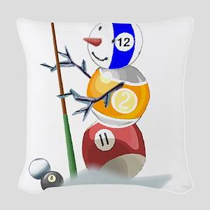 Billiards Ball Snowman Woven Throw Pillow