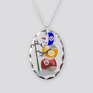 Billiards Ball Snowman Necklace Oval Charm