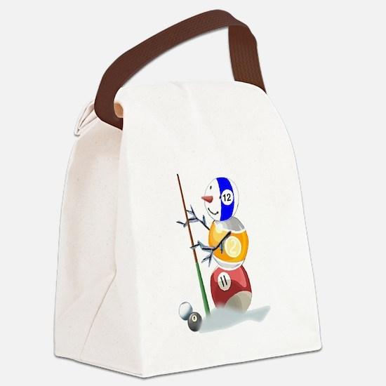 Billiards Ball Snowman Canvas Lunch Bag