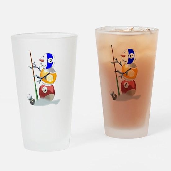 Billiards Ball Snowman Drinking Glass