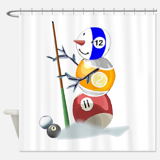 Billiards Ball Snowman Shower Curtain