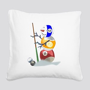 Billiards Ball Snowman Square Canvas Pillow