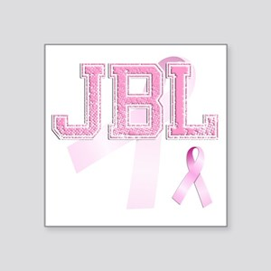 "JBL initials, Pink Ribbon, Square Sticker 3"" x 3"""