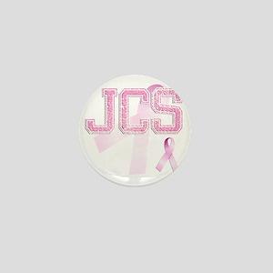 JCS initials, Pink Ribbon, Mini Button