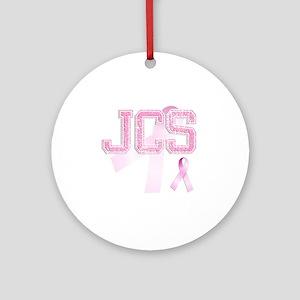 JCS initials, Pink Ribbon, Round Ornament