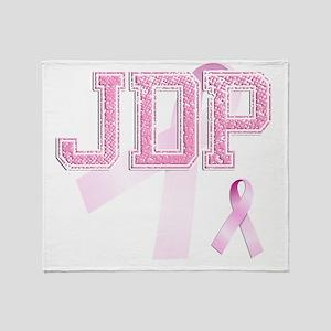 JDP initials, Pink Ribbon, Throw Blanket