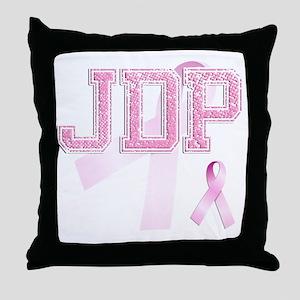 JDP initials, Pink Ribbon, Throw Pillow