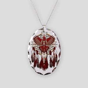 Native American Cardinal Manda Necklace Oval Charm