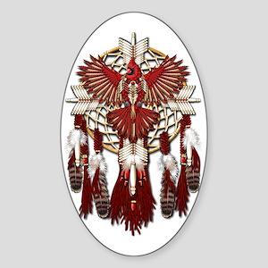 Native American Cardinal Mandala Sticker (Oval)