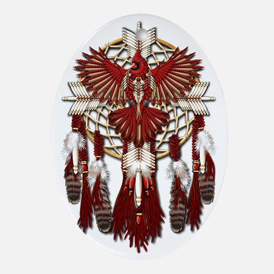 Native American Cardinal Mandala Oval Ornament