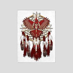 Native American Cardinal Mandala 5'x7'Area Rug
