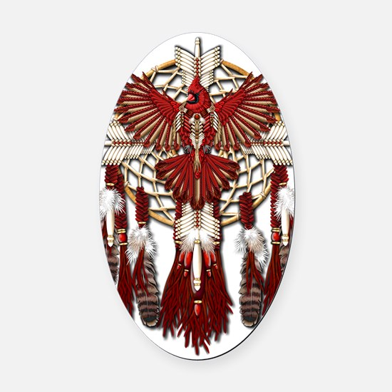 Native American Cardinal Mandala Oval Car Magnet