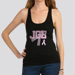 JGE initials, Pink Ribbon, Racerback Tank Top