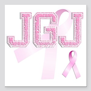 """JGJ initials, Pink Ribbo Square Car Magnet 3"""" x 3"""""""