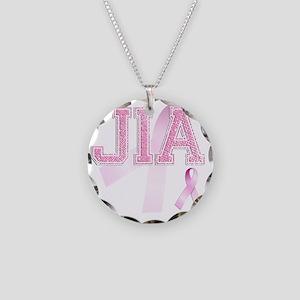 JIA initials, Pink Ribbon, Necklace Circle Charm