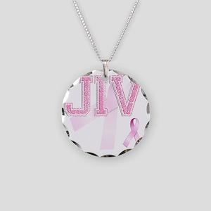 JIV initials, Pink Ribbon, Necklace Circle Charm