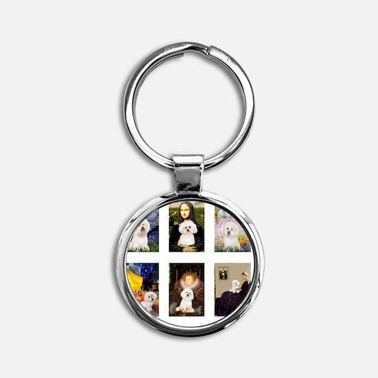 FamousArt-BichonFrise-CLEAR Round Keychain