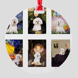 FamousArt-BichonFrise-CLEAR Round Ornament