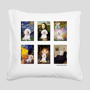 FamousArt-BichonFrise-CLEAR Square Canvas Pillow