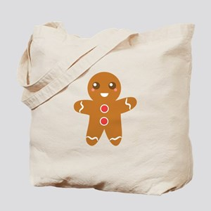 Cute and Happy Christmas Gingerbread Man Tote Bag