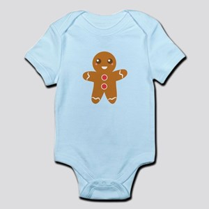 Cute and Happy Christmas Gingerbread Man Body Suit