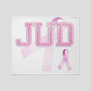 JUD initials, Pink Ribbon, Throw Blanket