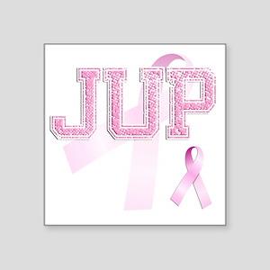 "JUP initials, Pink Ribbon, Square Sticker 3"" x 3"""