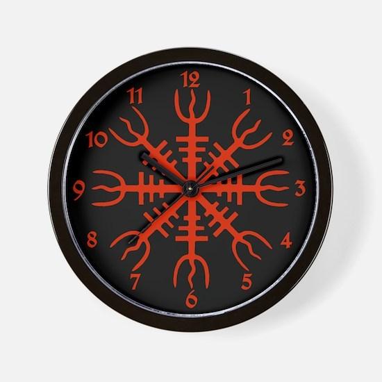 wallclock Red Aegishjalmur Wall Clock
