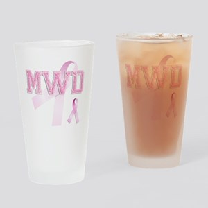 MWD initials, Pink Ribbon, Drinking Glass