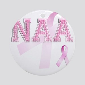 NAA initials, Pink Ribbon, Round Ornament