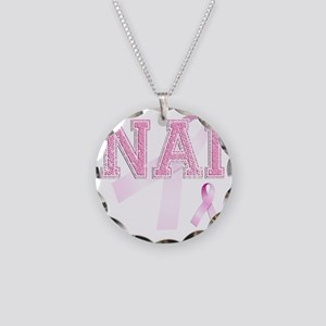NAI initials, Pink Ribbon, Necklace Circle Charm