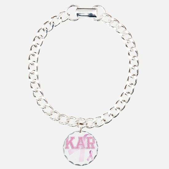 KAR initials, Pink Ribbo Bracelet