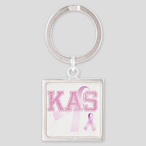 KAS initials, Pink Ribbon, Square Keychain