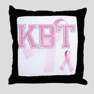 KBT initials, Pink Ribbon, Throw Pillow