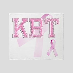 KBT initials, Pink Ribbon, Throw Blanket