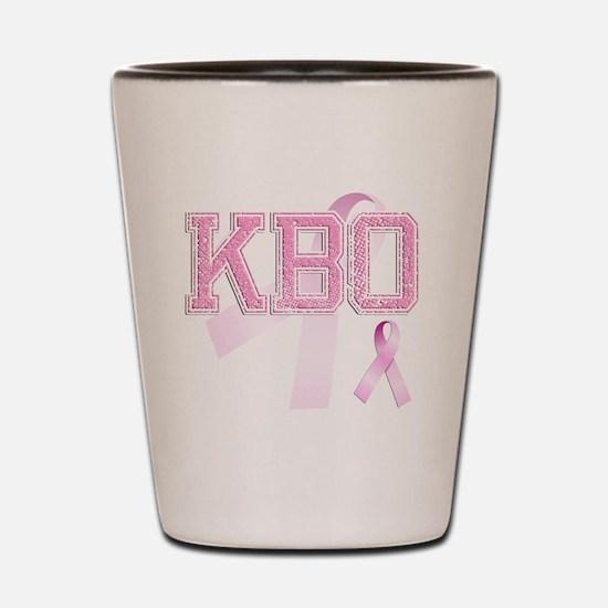 KBO initials, Pink Ribbon, Shot Glass