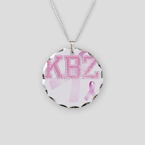 KBZ initials, Pink Ribbon, Necklace Circle Charm