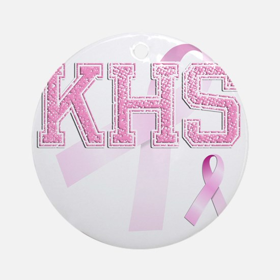 KHS initials, Pink Ribbon, Round Ornament